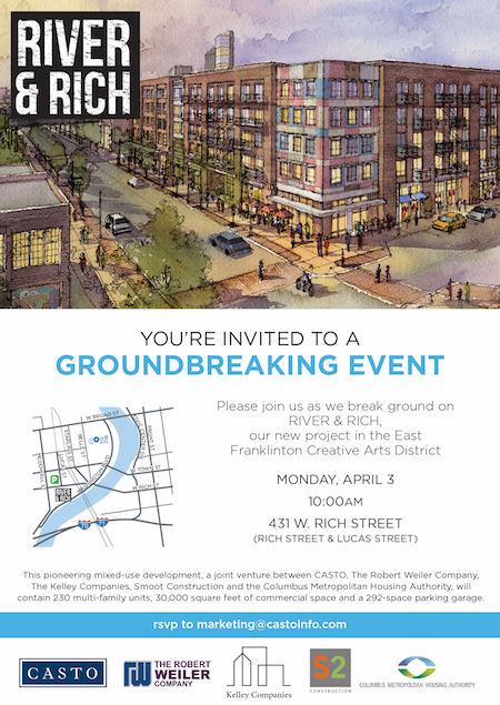 River & Rich - Groundbreaking Event Invitation
